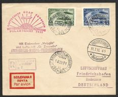 Soviet Union 1931 - Zeppelin Polarfahrt Graf Zeppelin and Ice breaker Malygin - Air mail cover with Mi. 403 and 405 with certificate