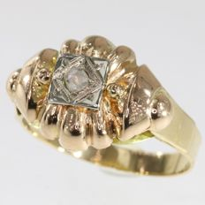 Unisex Retro Gold Diamond Ring - No Reserve Price