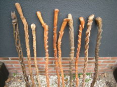 Wooden, hand-carved canes