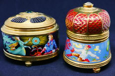 """Two music boxes in porcelain gilded in fine gold 24 k House of Fabergé, models """"The Stone Flower"""" and """"The Fire Bird"""""""