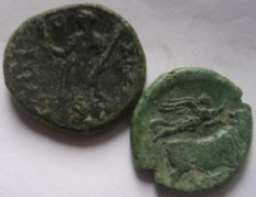 Greek Antiquity - Syracuse and Neapolis two rare Bronze ( AE 21 and AE 19)
