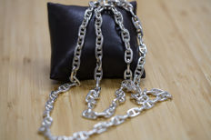 Vintage Hermes Chaîne d'Ancre silver necklace - 800 silver - 107,1 gr - Measurements: link 7 mm broad, 35,43 inch/90cm length