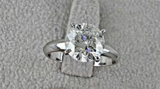 3.02  ct round diamond ring made of 14 kt white gold *** NO RESERVE PRICE ***