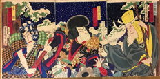 Original woodblock print triptych by Toyohara Kunichika (1835-1900), Actors Bando Hikosaburo as Myomyo dojin, Nakamura Shikan as Aranada Taro and Ichikawa Sadanji as Bansuke - Japan - 1876