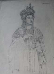 "Biffignandi, Alessandro - preparatory pencil drawing ""Teodorah"""