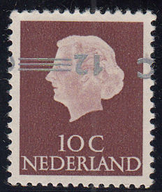 The Netherlands 1958 - Clearance overprint in silver, printing error NVPH 712b, with inspection certificate
