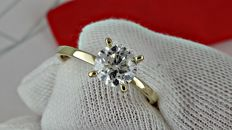 1.02 ct round diamond ring in yellow gold - size 6,5