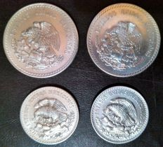 Mexico - Lot 4 coins of 1 and 5 peso 1947/48 - silver