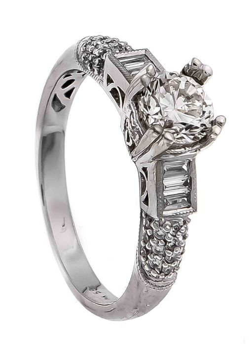 Royal Princess ring in white gold with natural diamonds, 1.58 ct, D/VVS1, Top Luxury category