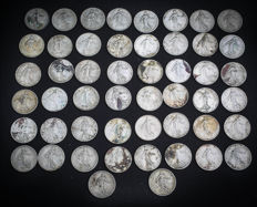 France – 1 Franc 1904/1919 'Semeuse' (lot of 50 coins) – Silver