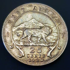East Africa - 25 Cents 1920 H  - George V - silver