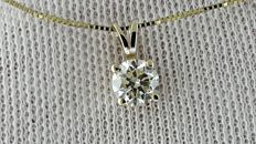 0.52  ct round diamond pendant in 14 kt yellow gold *** NO RESERVE PRICE ***