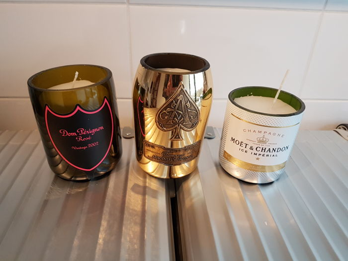 Dom Perignon / Moët en Chandon Ice / Armand de Brignac Luminous LED Candles soy wax - 3 items