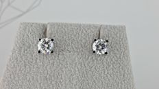 1.06 ct E/VS round diamond stud earrings 18 kt white gold  *** NO RESERVE PRICE ***