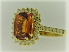 18 kt yellow gold with diamonds for 0.54 ct - ring size 13