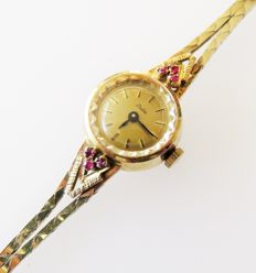 835 silver JUTA ladies' watch with 835 silver bracelet with 6 real rubies, 0.30 ct in total