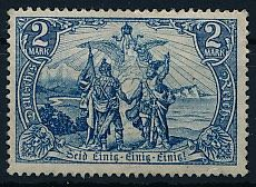 German Empire - 1902 - 2 mark blue-black without watermark with Gothic script, Michel 82