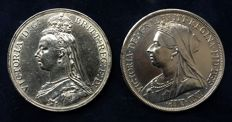 United Kingdom - Crown 1889 + Crown 1893 Victoria - Silver