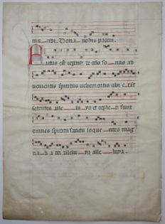 Manuscript; Leaf with sheet music from a medieval gradual - c. 1500