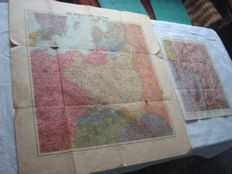"""Third Reich; lot of 2 old original maps from 1938/39, """"German Eastern Territories and Poland"""", and """"German-French Border"""" with the Siegfried and Maginot Line, 2nd World War"""