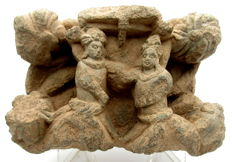Gandhara Stone Statue of Two Figures  - 168x115 mm