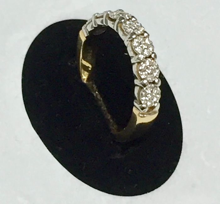 18 ct bicolour ring 5.78grs with 0.50 ct diamonds- size 17-18- Free resizing always possible