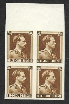"Belgium 1936 - Leopold III - Type ""Col ouvert"" - 70 centimes imperforate in block of 4 - 4x COB 427 ND"