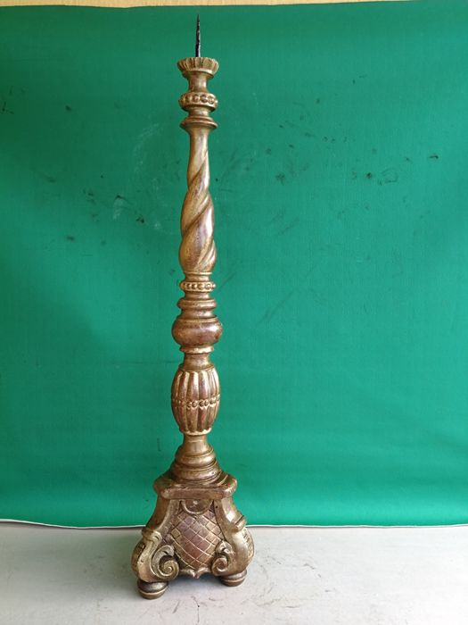 Antique candlestick in Walnut wood with traces of gilding and marked - Italy - early 1900s