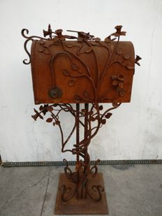 Hand wrought and forged iron mailbox - England, London - early 1900