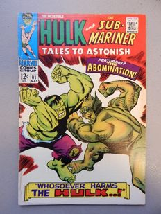 Marvel Comics - Tales of Astonish #91 - with Second appearance of the Abomination (Emil Blonsky), and first time on cover -  1x sc - (1967)
