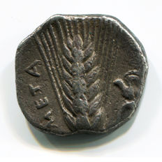 Greek Antiquity - Magna Graecia – Lucania, Metapontion Mint - 400-340 BC – Silver Nomos or Didrachm (7,37 gr., 19 mm.)