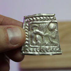 Skythians silver patch with lion  - 34 х 34 mm