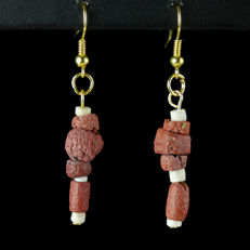 Earrings with Roman red glass and shell beads, including jewellery box