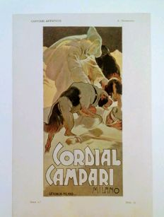 Art Nouveau / Liberty - Hohenstein Adolfo: CORDIAL CAMPARI, original advertising - Original chromo-lithograph print from Pluma y Lapiz.
