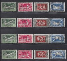 France Colonie Grand Liban and Syrie - Olympiques with overprint - Yvert 18/21, 45/48 and 122/125, 149/152