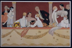 George Barbier - 'Eventails' - Hand-colored pochoir print with watercolor