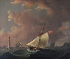 English school (19th century) - A fishing boat and other vessels off the coast in a fresh breeze