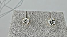 1.00 ct VS2 round diamond stud earrings 14 kt yellow gold *** NO RESERVE PRICE ***
