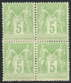 France 1898 – Sage 5c green-yellow, Type II, block of 4 – Yvert no. 106