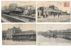 Lot with 50 beautiful postcards of lively railway stations