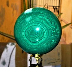 Large Green Malachite Stone sphere with Stand - 10 cm - 2.2 kg