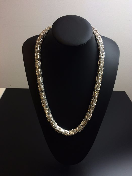 Silver king's braid link necklace 925, weight: 371 g, length: 64 cm, width: 10 mm