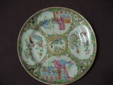 Enamel famille rose Canton plate - China - 19th century