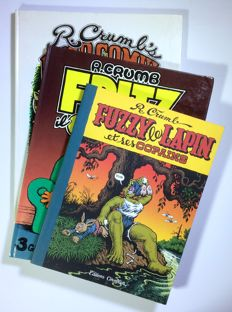 "Crumb, Robert - 3x volumes ""Fritz il gatto"", ""Head Comicx"" and ""Fuzzy"" first editions (1973-2002)"