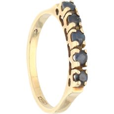 14 kt - Yellow gold ring set with sapphire - Ring size: 15.25