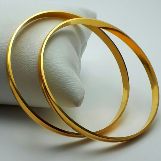 2 Bangle Set, 14/585 Ct Yellow Gold,  Diameter :6.5cm, Total weight:9.34g