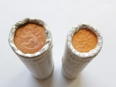 Finland - 1 and 2 Euro cents from the year 2000 (50 units each) in their original roll