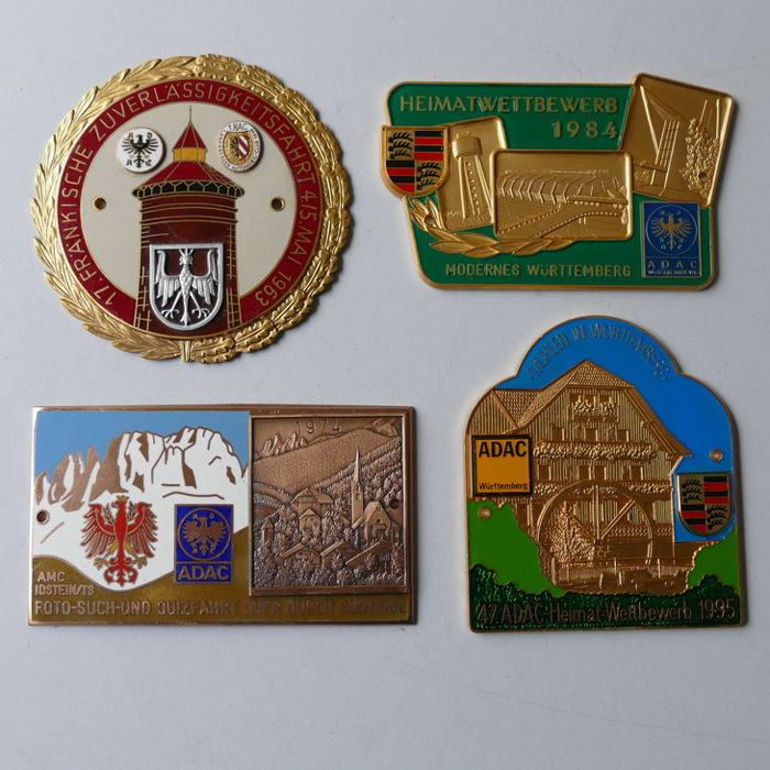 4 enamelled classic car auto badges 1963/95