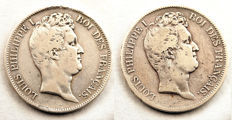 France – 5 Francs 1831-A and 1831-D (Lot of 2 Coins) – Louis Philippe I – Silver