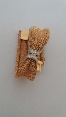 750‰ gold - bracelet from the '40s/'50s - 8×8 cut diamonds - 0.18 ct - total weight:  40.20 g - length:  19.0 × 1.5 (1.8)